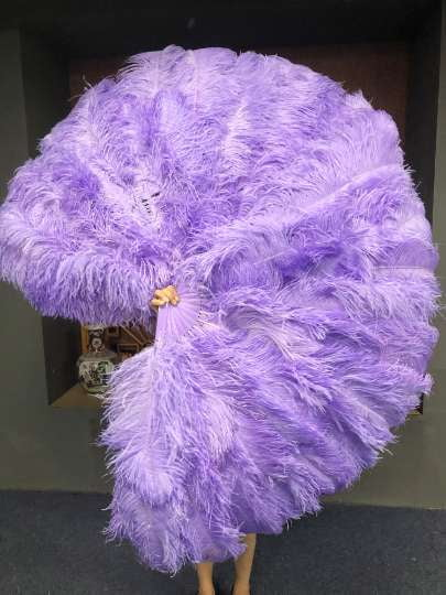 "Aqua violet 3 Layers Ostrich Feather Fan Opened 65"" with Travel leather Bag - hotfans"