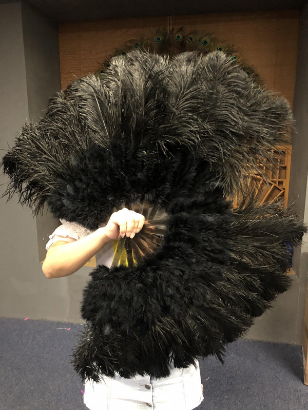 "Black Marabou Ostrich Feather fan 21""x 38"" with Travel leather Bag - hotfans"
