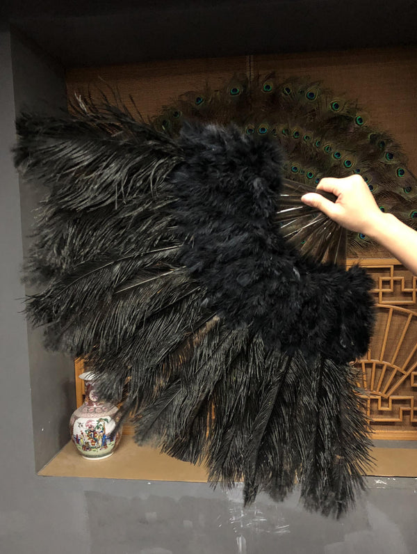 Black Marabou Ostrich Feather fan 21