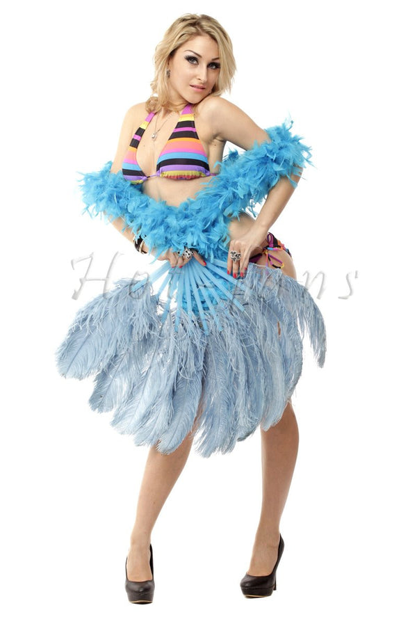 Baby blue single layer Ostrich Feather Fan with leather travel Bag 25
