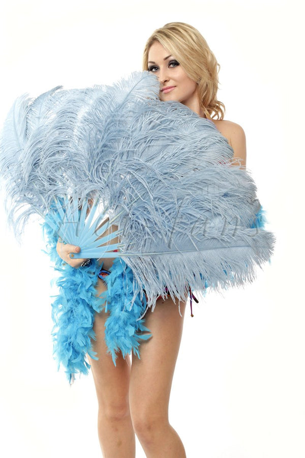 "Baby blue single layer Ostrich Feather Fan with leather travel Bag 25""x 45"" - hotfans"