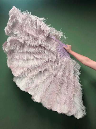 Beige wood 3 Layers Ostrich Feather Fan Opened 65