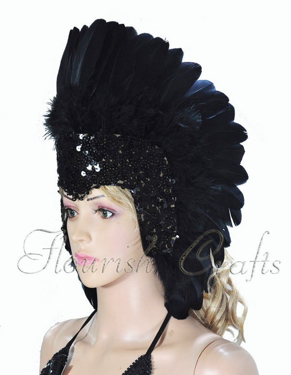 Black feather sequins crown las vegas dancer showgirl headgear headdress - hotfans