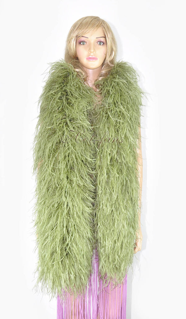 20 ply olive drab Luxury Ostrich Feather Boa 71