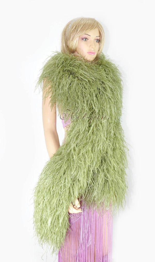 "20 ply olive drab Luxury Ostrich Feather Boa 71""long (180 cm) - hotfans"