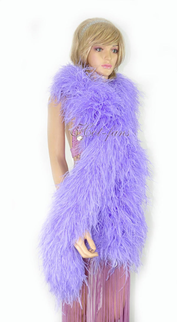 20 ply aqua violet Luxury Ostrich Feather Boa 71
