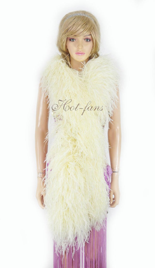 20 ply beige Luxury Ostrich Feather Boa 71