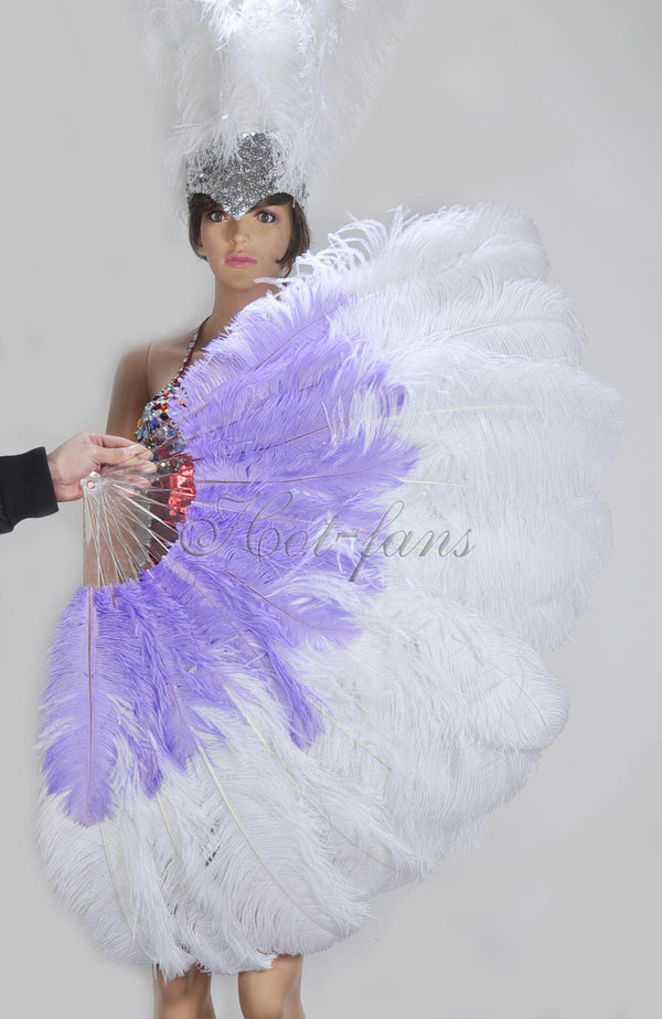 Mix white & aqua violet 2 Layers Ostrich Feather Fan 30''x 54'' with Travel leather Bag - hotfans