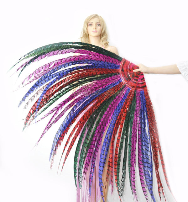 "mix color Luxury 71"" Tall huge Pheasant Feather Fan with Travel leather Bag - hotfans"