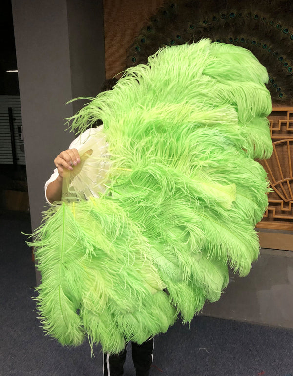 XL 2 Layers Fluorescent green Ostrich Feather Fan 34''x 60'' with Travel leather Bag - hotfans
