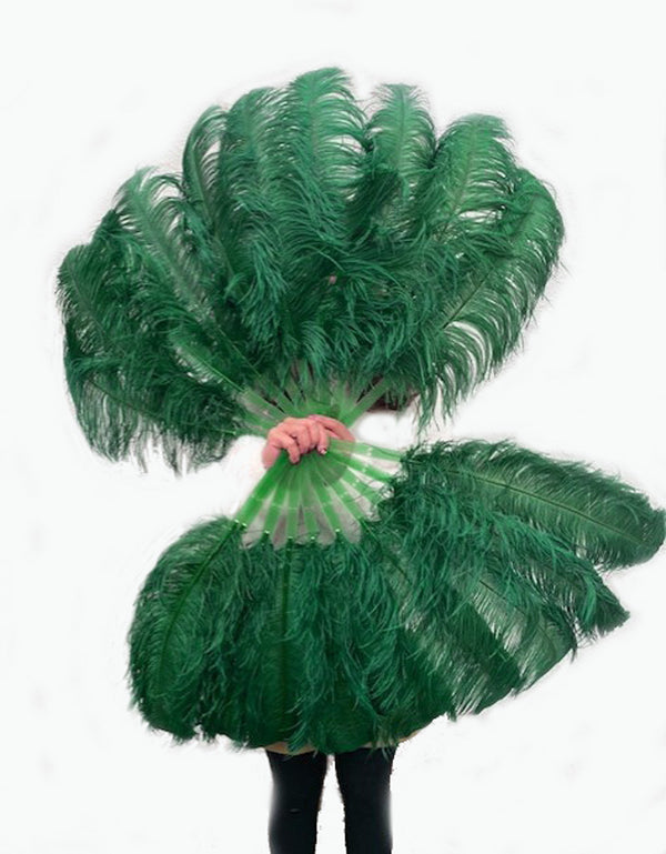 "A pair forest green Single layer Ostrich Feather fan 24""x 41"" with leather travel Bag - hotfans"