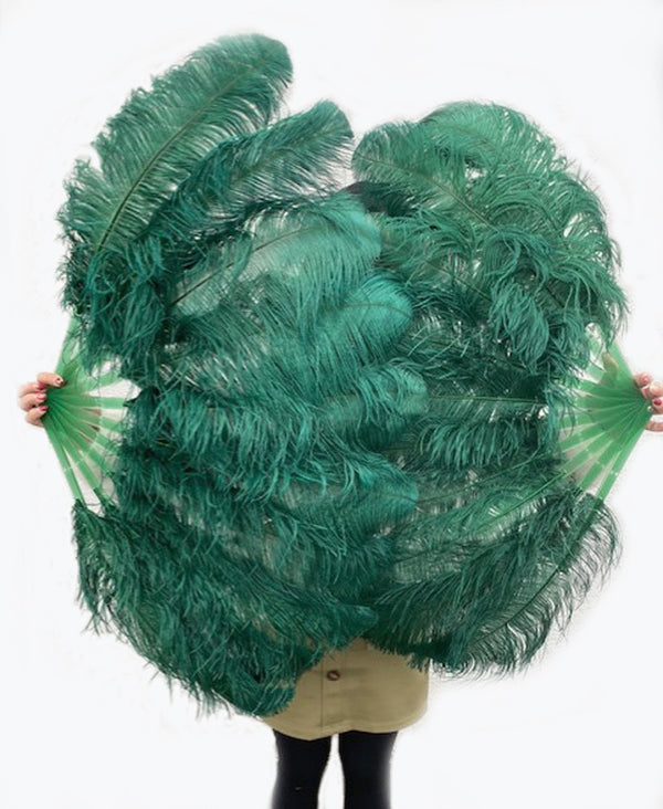 A pair forest green Single layer Ostrich Feather fan 24