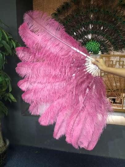 2 layers Fuchsia Ostrich Feather Fan 30