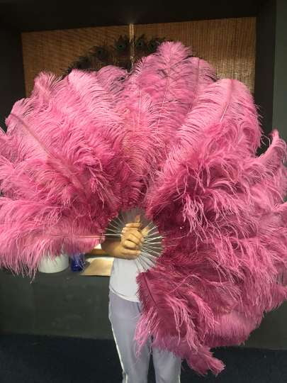 "2 layers Fuchsia Ostrich Feather Fan 30""x 54"" with leather travel Bag - hotfans"