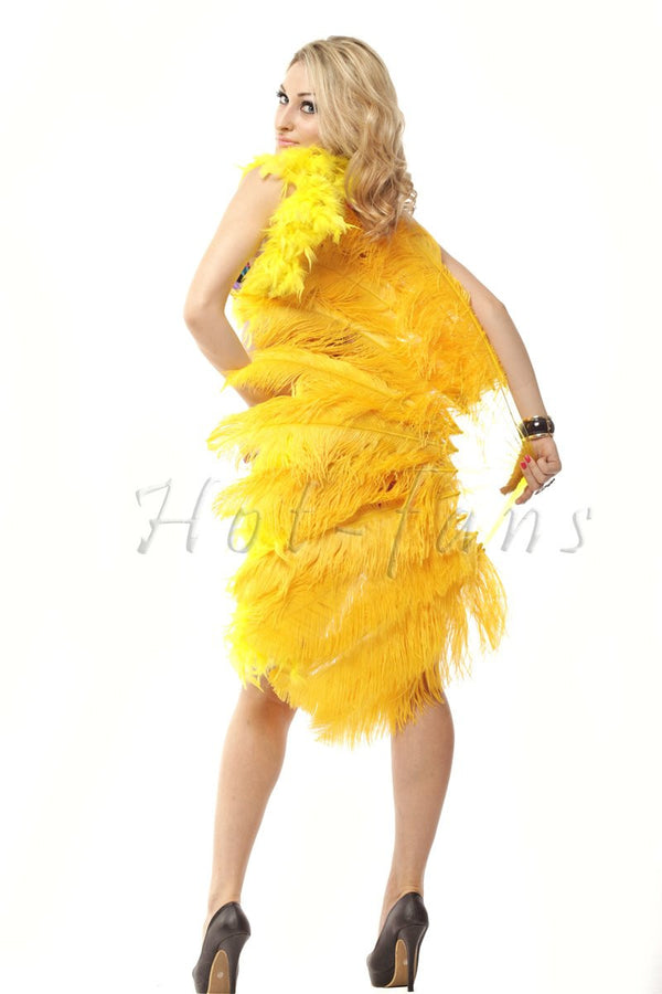 Gold yellow single layer Ostrich Feather Fan with leather travel Bag 25