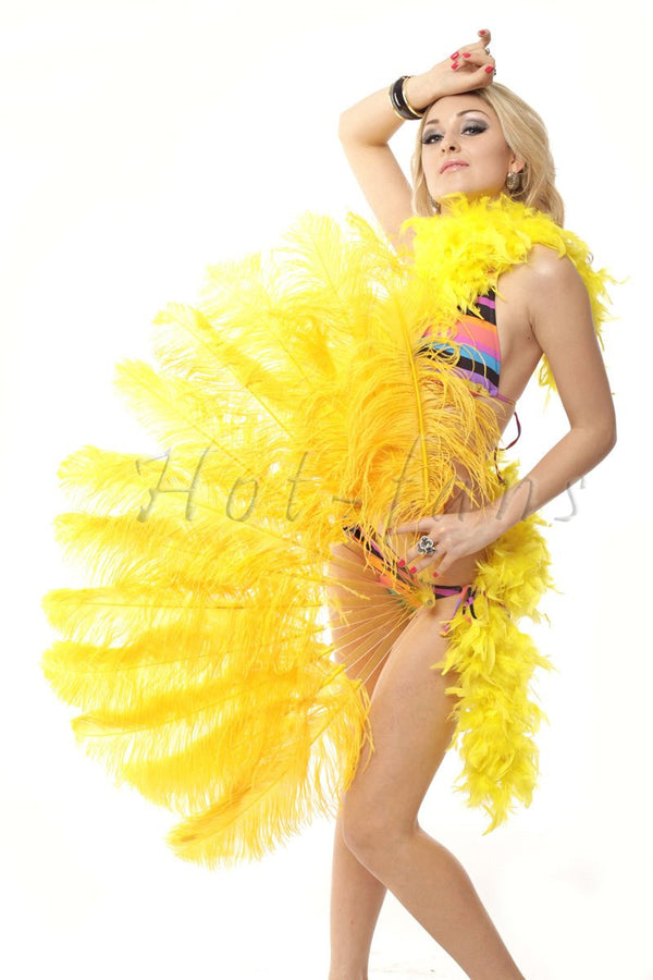 "Gold yellow single layer Ostrich Feather Fan with leather travel Bag 25""x 45"" - hotfans"