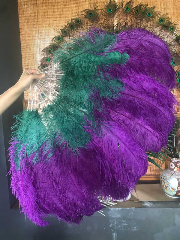 Mix dark purple & forest green 2 Layers Ostrich Feather Fan 30''x 54'' with Travel leather Bag - hotfans