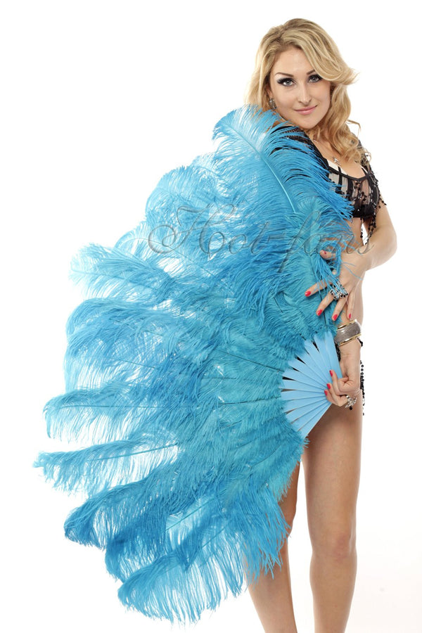 "2 layers turquoise Ostrich Feather Fan 30""x 54"" with leather travel Bag - hotfans"