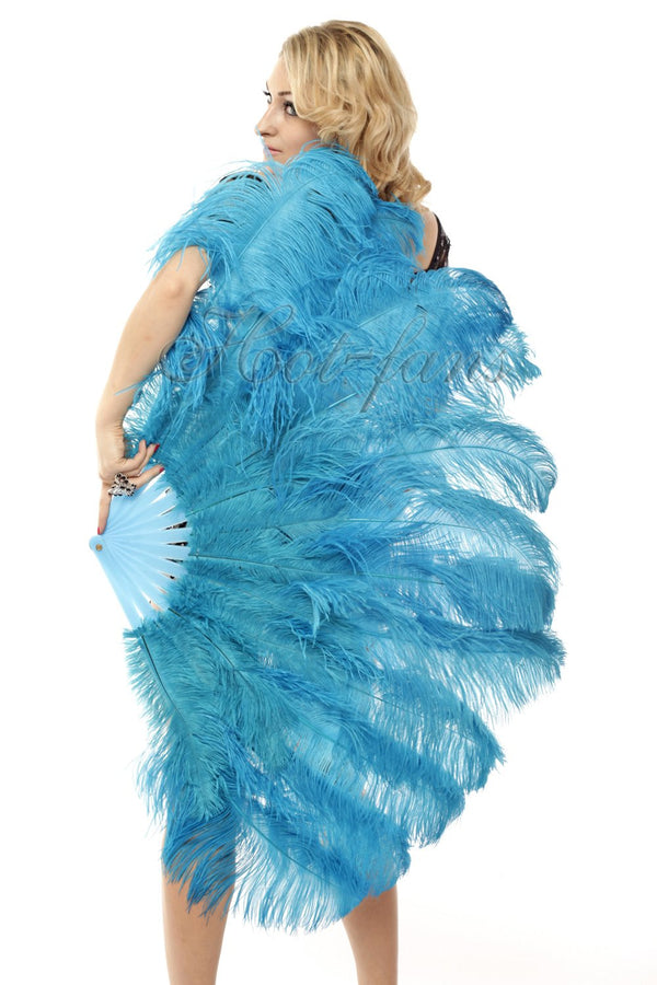 2 layers turquoise Ostrich Feather Fan 30