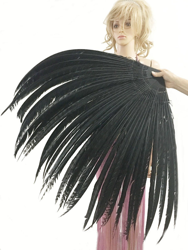 "Black  Luxury 71"" Tall huge Pheasant Feather Fan with Travel leather Bag - hotfans"