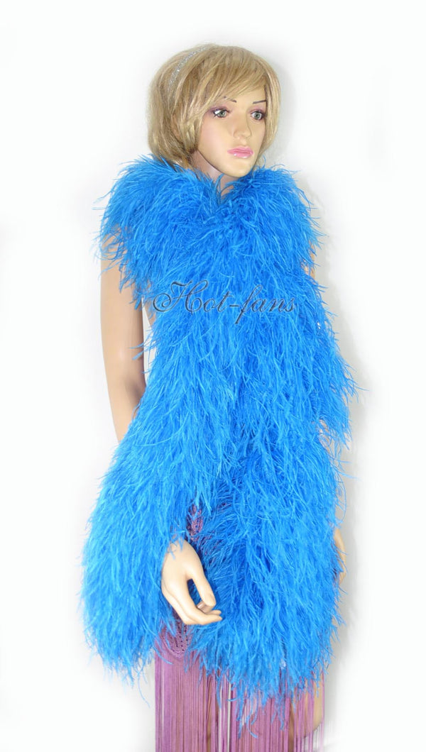 20 ply turquoise Luxury Ostrich Feather Boa 71