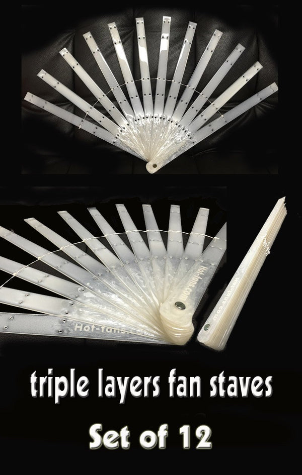 "Set of 12 triple layers fan staves & Hardware Assembly Kit 15"" (38 cm ) long - hotfans"