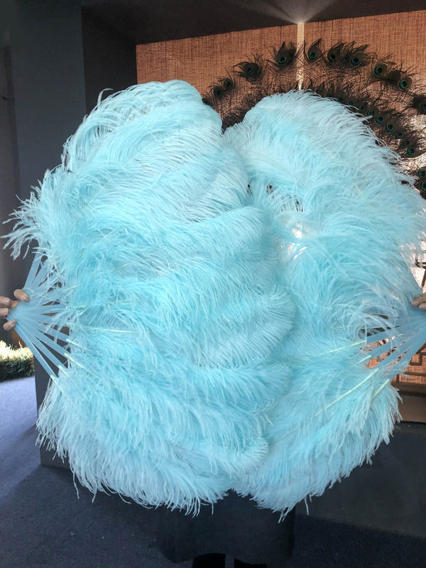 "A pair aqua Single layer Ostrich Feather fan 24""x 41"" with leather travel Bag - hotfans"