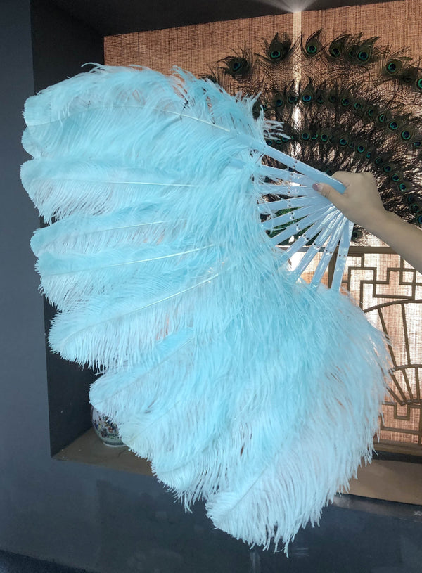 A pair aqua Single layer Ostrich Feather fan 24