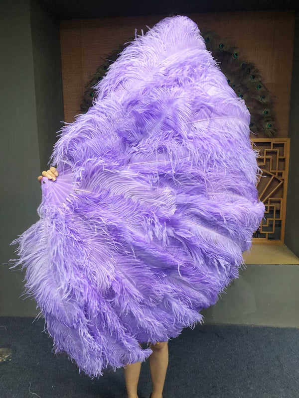 XL 2 Layers aqua violet Ostrich Feather Fan 34''x 60'' with Travel leather Bag - hotfans