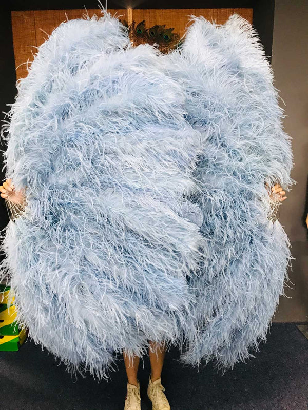 Burlesque 4 Layers baby blue Ostrich Feather Fan Opened 67'' with Travel leather Bag - hotfans