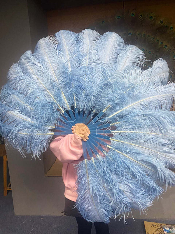 A pair baby blue Single layer Ostrich Feather fan 24