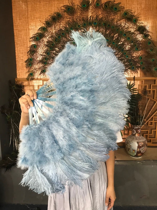 "baby blue Marabou Ostrich Feather fan 21""x 38"" with Travel leather Bag - hotfans"