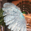 "2 layers baby blue Ostrich Feather Fan 30""x 54"" with leather travel Bag - hotfans"