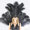 Black Ostrich Feather Open Face Kopfschmuck & Backpiece Set - Hotfans