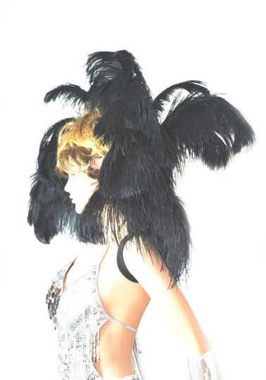 Black Open Majestic Style Ostrich Feather backpiece - hotfans