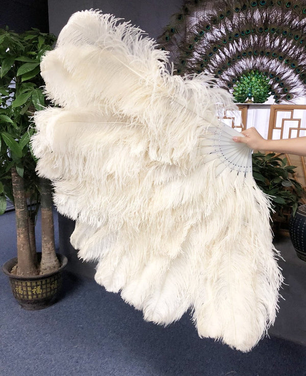 Beige 3 Layers Ostrich Feather Fan Opened 65