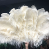 Burlesque 4 Layers beige Ostrich Feather Fan Opened 67'' with Travel leather Bag - hotfans