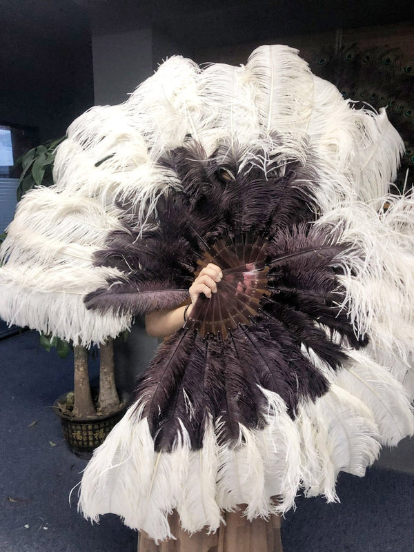 Mix beige & coffee 2 Layers Ostrich Feather Fan 30''x 54'' with Travel leather Bag - hotfans