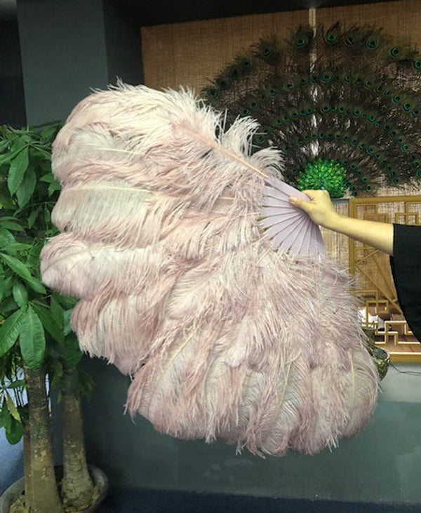 2 layers beige wood Ostrich Feather Fan 30