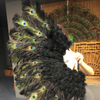 "Black Peacock Marabou Ostrich Feathers Fan 27""x 53"" With Travel leather Bag - hotfans"