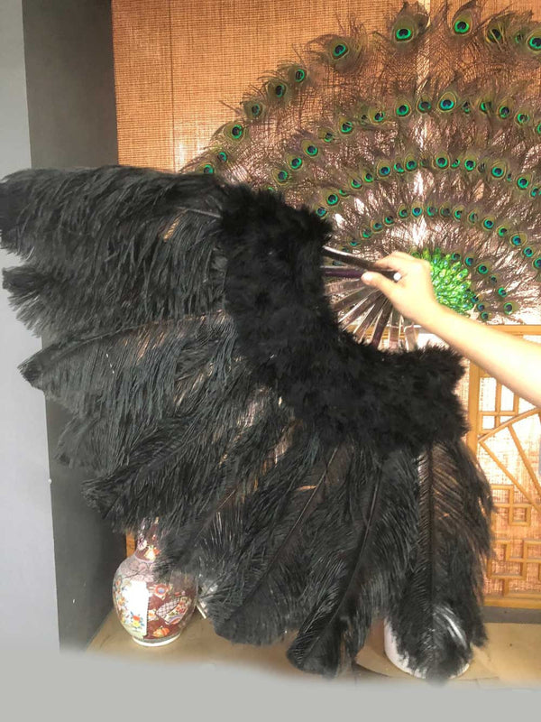 black Marabou Ostrich Feather fan 24