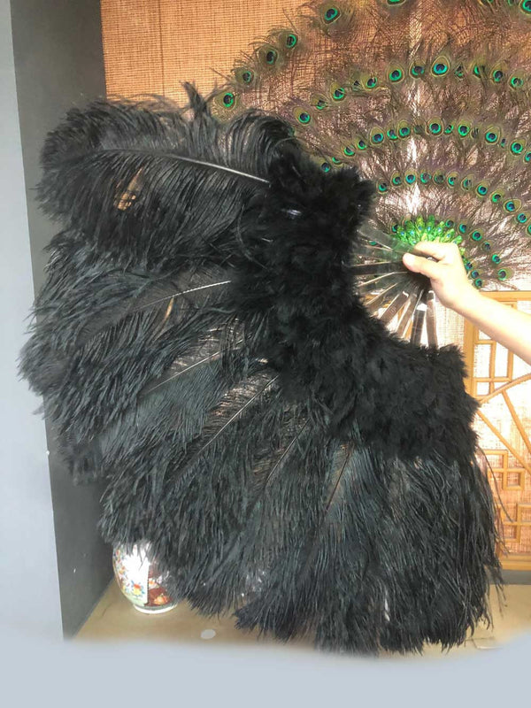 sort Marabou Ostrich Feather fan 24