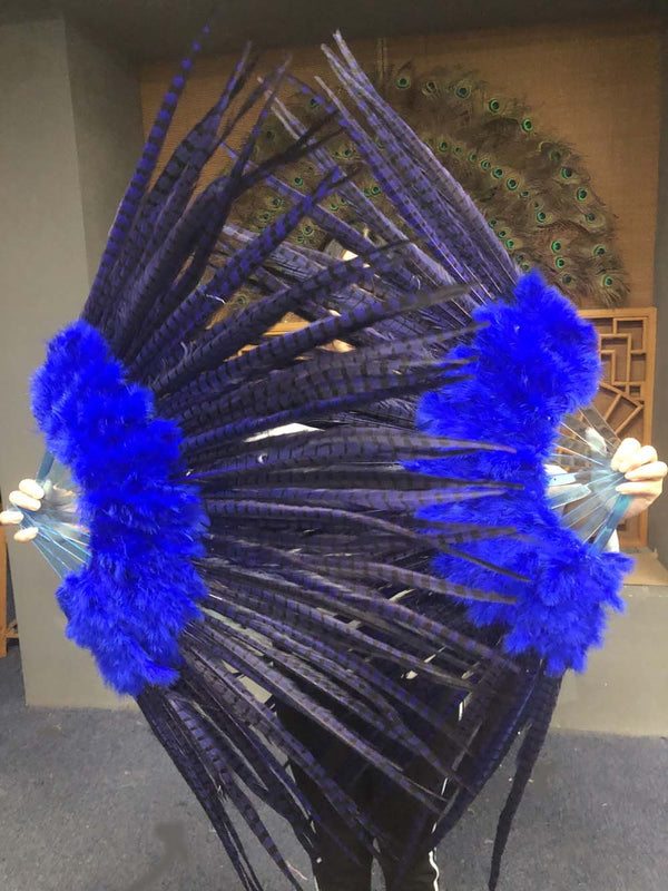 "Blue Marabou & Pheasant Feather Fan 29""x 53"" with Travel leather Bag - hotfans"