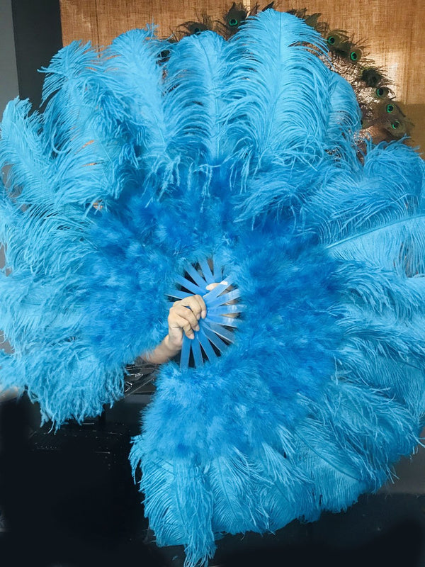 turquoise Marabou Ostrich Feather fan 24