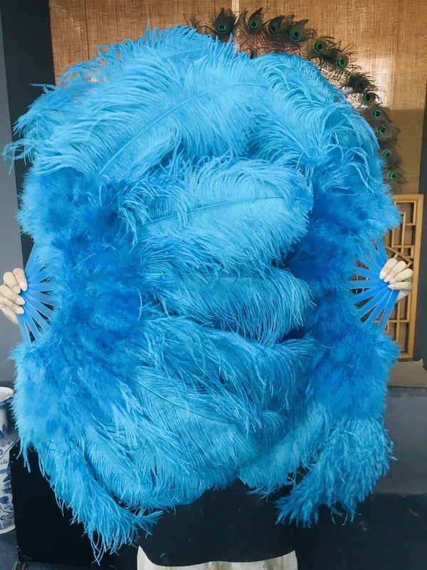 "turquoise Marabou Ostrich Feather fan 24""x 43"" with Travel leather Bag - hotfans"