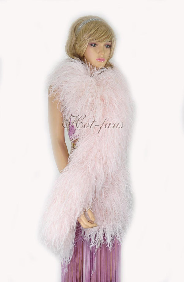 """20-lags Blush Luxury Ostrich Feather Boa 71 """"lang (180 cm) - hotfans"""