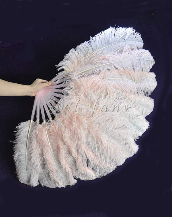 "blush single layer Ostrich Feather Fan with leather travel Bag 25""x 45"" - hotfans"
