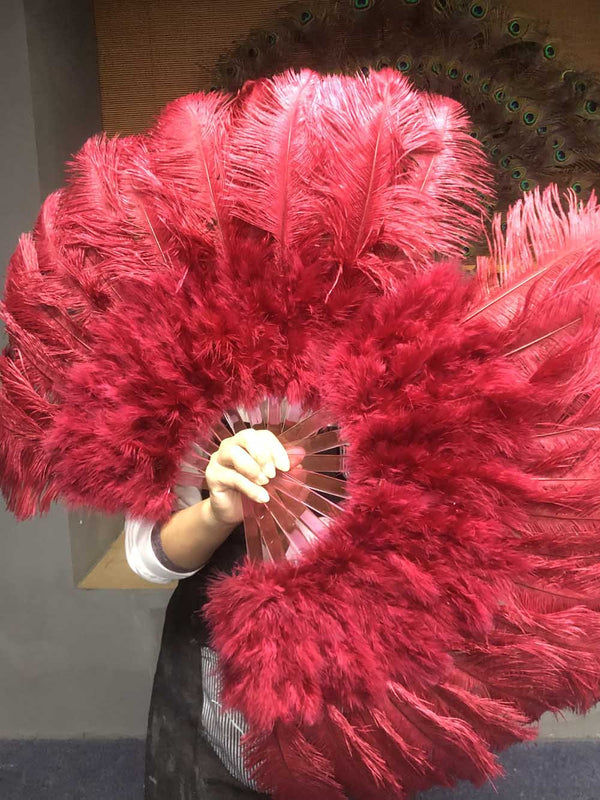 burgundy Marabou Ostrich Feather fan 21