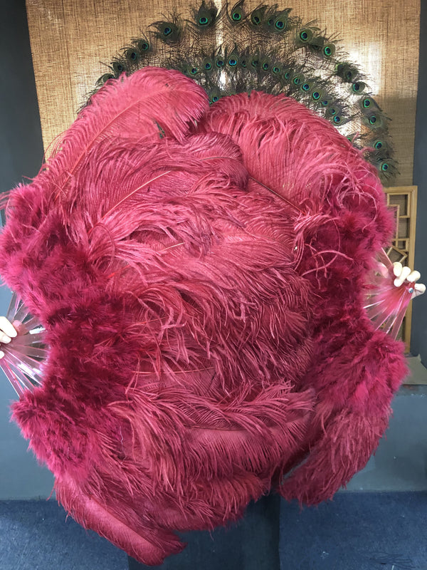 "burgundy Marabou Ostrich Feather fan 24""x 43"" with Travel leather Bag - hotfans"