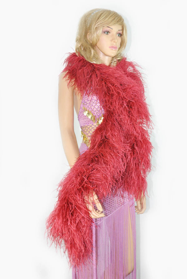 "12 ply burgundy Luxury Ostrich Feather Boa 71""long (180 cm) - hotfans"